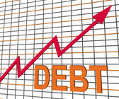 Debt Graph Chart Shows Increase Financial Indebted — Stock Photo