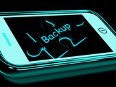 Backup Smartphone Means Copying And Storing Data — Stock Photo