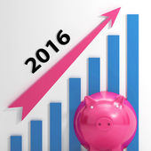 Graph 2016 Means Forecasting Business Financial Growth — Stock Photo