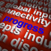 Progress Word Cloud Means Maturity Growth  And Improvement — Stock Photo
