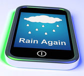 Rain Again On Phone Shows Wet  Miserable Weather — Stock Photo