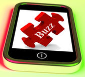 Buzz Smartphone Means Creating Publicity And Awareness — Stock Photo