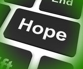 Hope Key Shows Hoping Hopeful Wishing Or Wishful — Stock Photo
