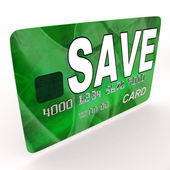 Save Bank Card Shows Savings Account And Money Reserves — Stock Photo