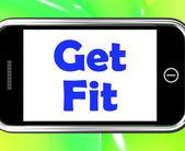 Fit op telefoon shows uit te werken of fitness — Stockfoto