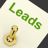 Leads Switch Means Lead Generation And Sales — Stock Photo