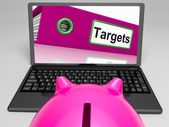 Targets Laptop Means Aims Objectives And Goal setting — Foto de Stock