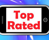 Top Rated On Phone Shows Best Ranked Special Product — Stock Photo