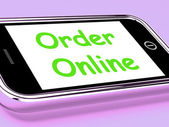 Order Online On Phone Shows Buying In Web Stores — Stock fotografie
