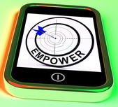 Empower Smartphone Means Provide Tools And Encouragement — Stock Photo