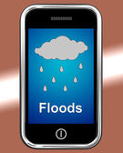 Floods On Phone Shows Rain Causing Floods And Flooding — Stock Photo