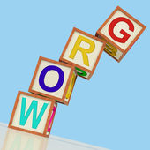 Grow Blocks Shows Advancing Expanding And Developing — Stock Photo