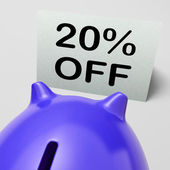 Twenty Percent Off Piggy Bank Means Discounted 20 — Stock Photo