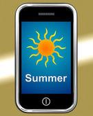 Summer On Phone Means Summertime Season — Stock Photo
