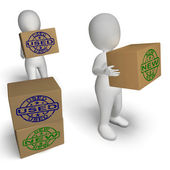 New And Used Boxes Show Newly Arrived And Second-Hand Products — Stock Photo