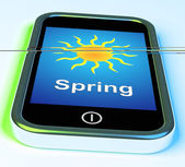 Spring On Phone Means Springtime Season — Stock Photo