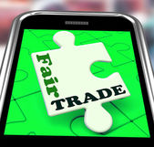 Fair Trade Smartphone Shows Purchasing Ethical Fairtrade Goods — Stock Photo