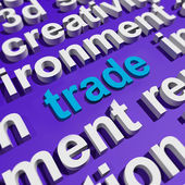 Trade In Word Cloud Shows Online Buying And Selling — Stock Photo