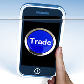 Trade On Phone Shows Online Buying And Selling — Foto Stock