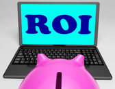 ROI Laptop Shows Investors Returns And Profitability — Stock Photo