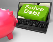 Solve Debt Key Means Solutions To Money Owing — Stock Photo