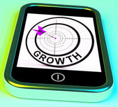 Growth Smartphone Shows Expansion  And Advancement Through Inter — Zdjęcie stockowe