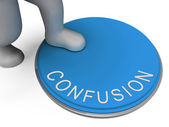 Confusion Button Shows Muddle Unclear And Unsure — Stock Photo
