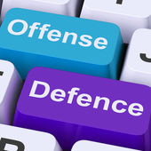 Offense Defence Keys Shows Attack Or Defend — Stock Photo