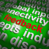 Feedback Word Cloud Shows Opinion Evaluation And Surveys — Stock Photo