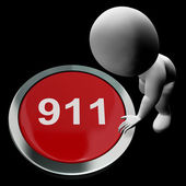 Nine One One Button Shows 911 Emergency Or Crisis — Stockfoto