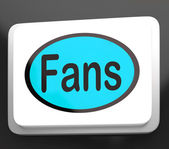 Fans Button Shows Follower Or Internet Fan — Stock Photo