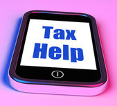 Tax Help On Phone Shows Taxation Advice Online — Stock Photo