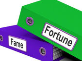 Fortune Fame Folders Mean Rich Or Well Known — Stock Photo