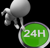 Twenty Four Hours Button Shows Open 24H — Stock Photo
