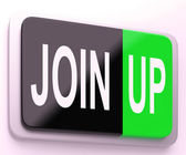 Join Up  Button Shows Joining Membership Register — Stock Photo