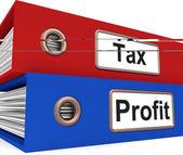 Visualizza cartelle di profitto fiscale pagando le imposte sul reddito — Foto Stock