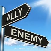 Ally Enemy Signpost Shows Friend Or Adversary — Stock Photo