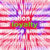Loyalty Word Cloud Shows Customer Trust Allegiance And Devotion — Stok fotoğraf