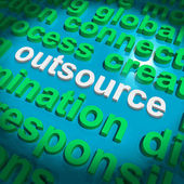 Outsource Word Cloud Shows Subcontract And Freelance — ストック写真