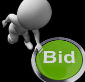 Bid Button Shows Auction Buying And Selling — Stock Photo