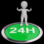 Twenty Four Hours Button Means 24H Service — Stock Photo