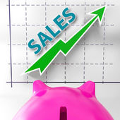 Sales Graph Means Increased Selling And Earnings — Stock Photo