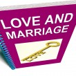 Love and Marriage Book Represents Keys and Advice for Couples — Stock Photo #42126307