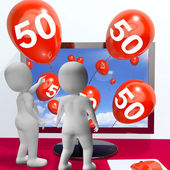Number 50 Balloons from Monitor Show Online Invitation or Celebr — Stock Photo
