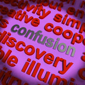 Confusion Word Cloud Means Confusing Confused Dilemma — Stock Photo