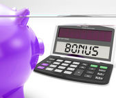 Bonus Calculator Shows Perk Extra Or Incentive — Stock Photo