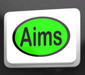 Aims Button Shows Targeting Purpose And Aspiration — Stock Photo