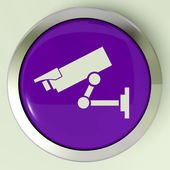 Camera Button Shows CCTV and Web Security — Stock Photo