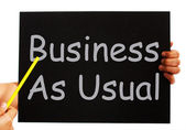 Business As Usual Blackboard Means Routine And Normality — Photo