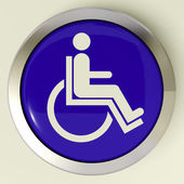 Disabled Button Shows Wheelchair Access Or Handicapped — Stock Photo